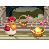 Funny poster with a quirky chicken and a golden egg in a wicker basket. Vector cartoon close-up illustration.