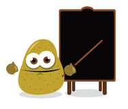 Funny potato and a blackboard Royalty Free Stock Photography