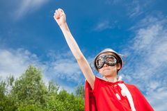 Funny power super hero child concept Royalty Free Stock Image