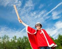Funny power super hero child concept Stock Image