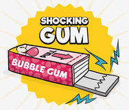 Funny Prank of Shocking Gum for April Fools' Day, Vector Illustration Stock Image