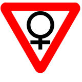 Funny precedence road sign female gender symbol icon isolated. On white Royalty Free Stock Photography
