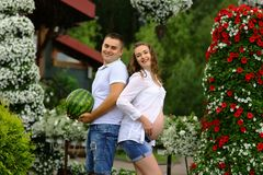 Funny pregnant girl with her husband with watermelon and plush bear are playing in the garden. Authentic lifestyle image stock images