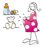 Funny pregnant mother. Young woman is having a baby Royalty Free Stock Image