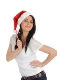 Funny pretty casual santa claus woman Stock Image