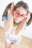Funny, pretty geek girl Stock Photo