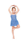 Funny pretty little girl in blue dress i Stock Image