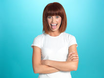 Funny, pretty woman showing her tongue Royalty Free Stock Photo