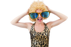Funny pretty woman. In sunglasses isolated on white Royalty Free Stock Photo
