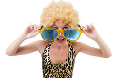 Funny pretty woman. In sunglasses isolated on white Stock Images