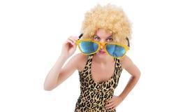 Funny pretty woman in sunglasses Stock Photography