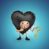 Funny prickly Valentine heart cartoon holding key Royalty Free Stock Photos