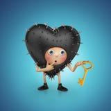 Funny prickly Valentine heart cartoon holding key Royalty Free Stock Photos