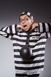 Funny prisoner in chains. The funny prisoner in chains isolated on gray Stock Photography
