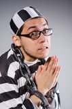 Funny prisoner in chains Stock Photos