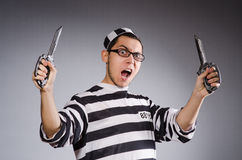 Funny prisoner with knuckles Royalty Free Stock Photography