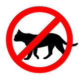 Funny prohibited road sign cats icon isolated Royalty Free Stock Images
