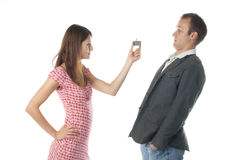 Funny proposal scene Royalty Free Stock Photography