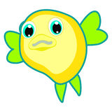 Funny puff fish vector Yellow & green blowfish cartoon character isolated on white background Ocean animal Round shape fish Sea li Stock Images