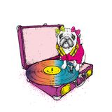 Funny pug with a bow sits on the turntable for vinyl records. Beautiful thoroughbred dog. Vector illustration. Cute puppy. vector illustration