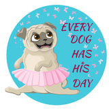 Funny pug dancing Royalty Free Stock Photography