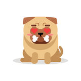 Funny pug dog character sitting and holding bone in its mouth vector Illustration Royalty Free Stock Photos