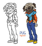 Funny pug dressed like hipster Royalty Free Stock Photography