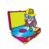 Funny pug with glasses and a cap sits on the turntable for vinyl records. Beautiful thoroughbred dog. Vector illustration. Cute puppy Royalty Free Stock Image