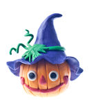 Funny pumpkin. Made of plasticine isolated over white Royalty Free Stock Image