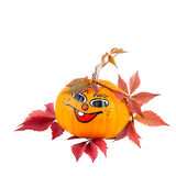Funny Pumpkin with Autumn Leaves Royalty Free Stock Images