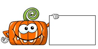 Funny pumpkin character isolated holding blank banner Stock Photos