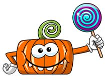 Funny pumpkin character isolated lollipop Stock Images