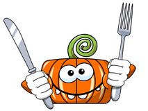 Funny pumpkin character isolated fork knife Stock Image