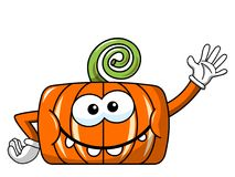 Funny pumpkin character isolated waving Stock Photo