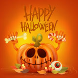 Funny pumpkin character on orange background Royalty Free Stock Images