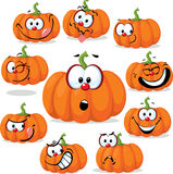 Funny pumpkin with many faces - vector illustration Royalty Free Stock Images