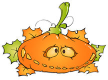 Funny pumpkin and maple leaves Stock Photography