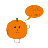 Funny pumpkin and speech bubble Royalty Free Stock Photos