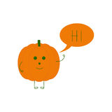Funny pumpkin with speech bubble Royalty Free Stock Image