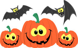Funny pumpkins and bats cartoon Stock Photo