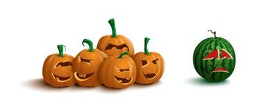 Funny pumpkins and sad watermelon Stock Photo