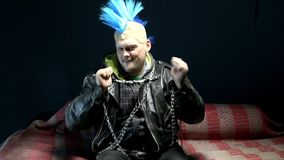 Funny punk dancing. Video of funny punk on studio stock footage