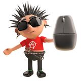Funny punk rocker with spikey hair holding a wireless mouse, 3d illustration. Render royalty free illustration