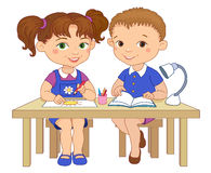 Funny pupils sit on desks read draw clay cartoon illustration Stock Photo