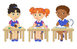 Funny pupils sit on desks read draw clay cartoon illustration. Funny pupils sit on desks read draw clay cartoon asian african  illustration Stock Image