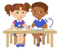 Funny pupils sit on desks read draw clay cartoon illustration Stock Image