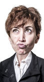 Funny puppet big head business woman Stock Image