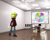 Funny Puppet Office Worker, Business Royalty Free Stock Image