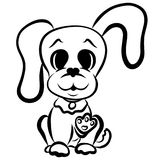 Funny puppy with a big head and long ears, greeting.  royalty free illustration