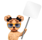 Funny puppy holding empty banner. Funny puppy with sunglasses holding empty banner, isolated on white. Connection and advertising concept. Realistic 3D Royalty Free Stock Photos
